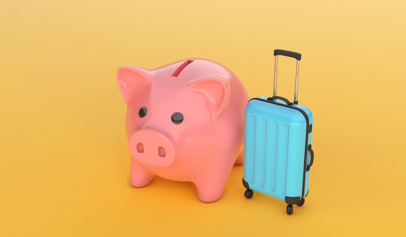 Are timeshares worth it: piggy bank and a blue suitcase